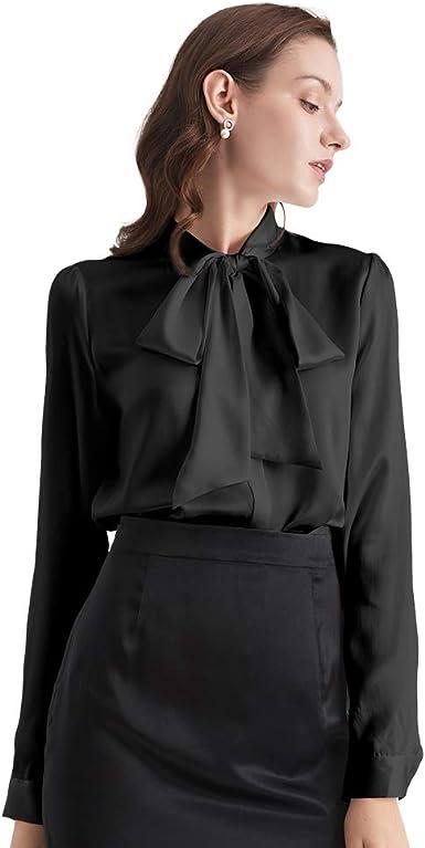 LilySilk Blusa de Seda con Cuello de Lazo para Mujer, Manga Larga, Botones de Camisa de Seda