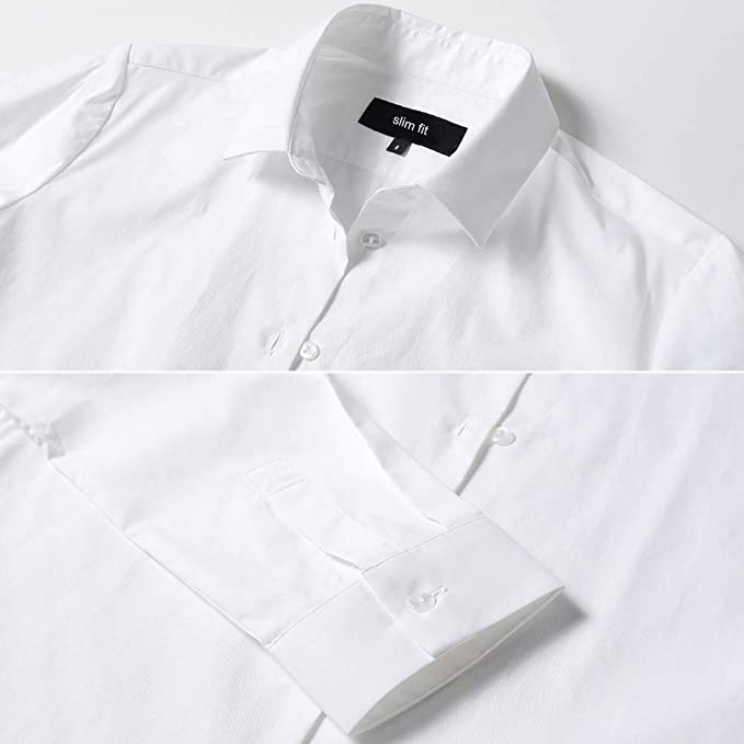 Harrms - Blusa básica para mujer, entallada, de manga larga, de algodón, de un solo color, lisa, para traje, trabajo, con bolsillo en el pecho, fácil de planchar, 11 colores Blanco 40: