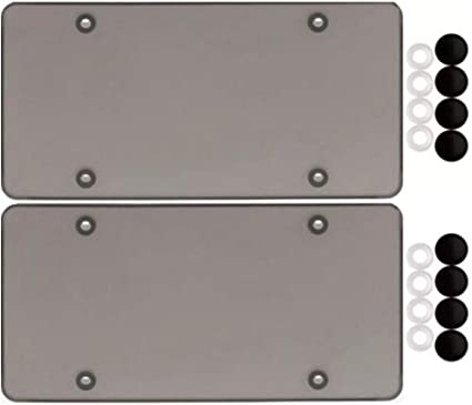 2 SMOKE FLAT LICENSE PLATE COVER BUG SHIELD TINTED PLASTIC TAG PROTECTOR /& CAPS