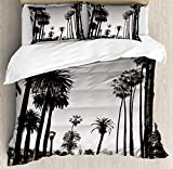 What Are the Measurements of a California King Size Bed BULING Palm Tree 4pc Bedding Set King Size, Los Angles Downtown Park View Tropical Nature California American Landmark Floral Lightweight Microfiber Duvet Cover Set, Dark Brown White