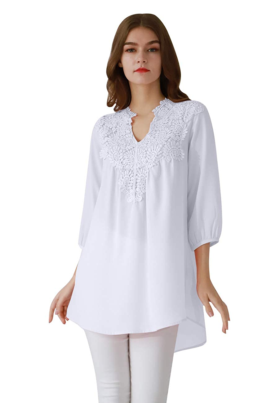 OMZIN Damen Chiffon Tunika mit Spitzen Boho Stil Longshirt Minikleid XS-XXXL