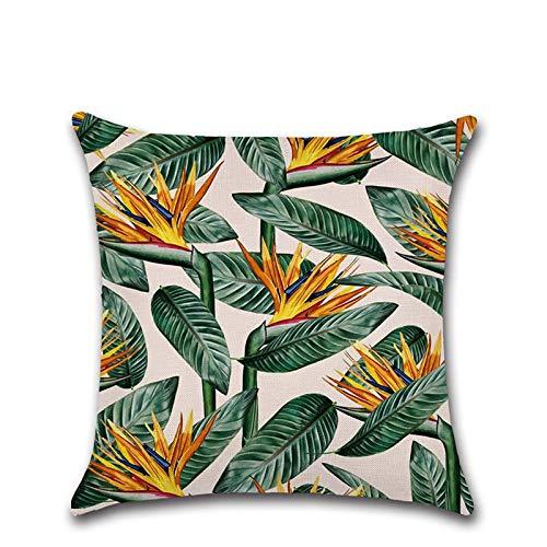 Funda de cojín de 45 x 45 cm, diseño de hojas verdes de ...
