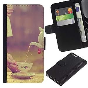 Copa Porcelana Vignette Alimentaria británica- la tarjeta de Crédito Slots PU Funda de cuero Monedero caso cubierta de piel Para Apple (5.5 inches!!!) iPhone 6+ Plus / 6S+ Plus