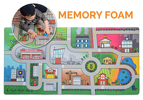 "d Play Mat - Jumbo: 39 x 79"" Luxurious Memory Foam, 'My City' Large Activity Floor Carpet for Toy Cars and Trucks, Giant (Activity Carpet)"