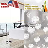 Free Tool Kit EZAUTOWRAP Dandelion Flower Frosted Glass Peel And Stick Window Film Home Bedroom Bathroom Privacy Waterproof Sticker Decal - 36''X600'' (3FT X 50FT)