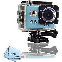 FrenzyDeals Blue Ultra HD Wifi Waterproof Sports Camera + FrenzyDeals Microfiber Cloth