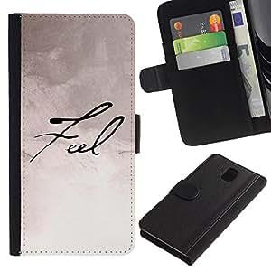 SAMSUNG Galaxy Note 3 III / N9000 / N9005 Modelo colorido cuero carpeta tirón caso cubierta piel Holster Funda protección - Feel Paper Handwriting Caligraphy