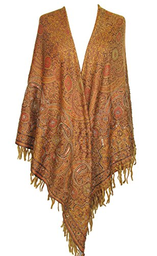 - Embroidered Beaded Paisley Wool Shawl Wrap Scarf Square Throw Antique Gold 60