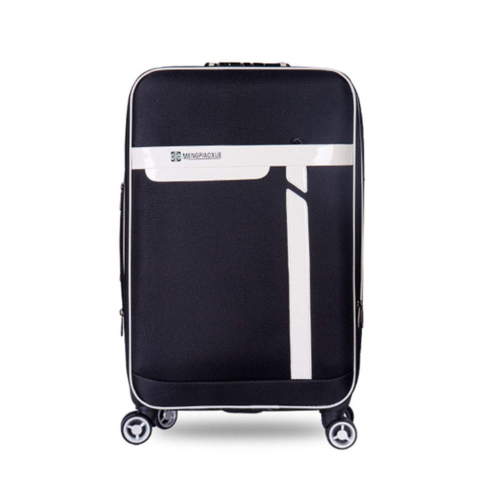 ナイロン荷物、360°ユニバーサルホイールトロリー、パスワードロックスーツケース、出張旅行-black-XXXL B07T4WH6S9 black XXX-Large