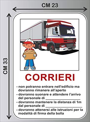 CM 23X33 Cartello adesivo REGOLE INGRESSO PER CORRIERI SCARICO PACCHI corona emergenza COVID-19 – PVC ADESIVO cod. 1397