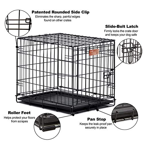 Midwest Icrate Folding Metal Dog Crate Divider Panel Floor Protecting Roller Feet