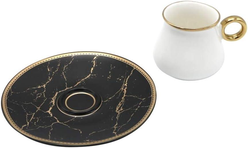 Luxury Bone China Espresso Turkish Coffee Set of 6 Cups Black on Black Floral Saucers Saucers