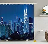 Eurag Fabric Shower Curtain Set, Kuala Lumpur Skyline at Night KLCC Twin Towers Malaysian Landmark Monochromic Photo, Fabric Bathroom Decor with Hooks, 69W X 72L inches