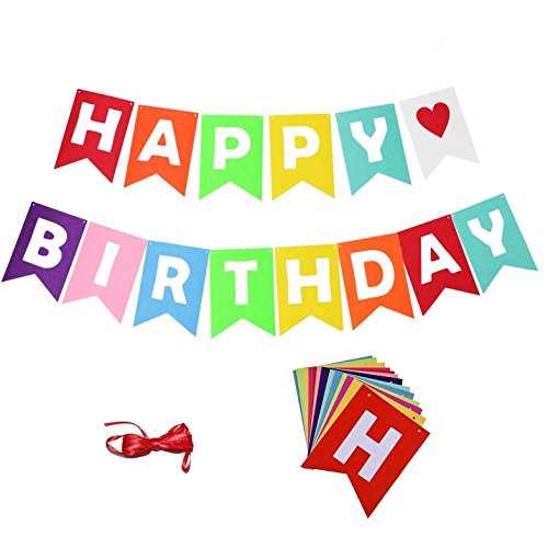 QMZ Happy Birthday Banners Bunting Decoration Party Supplies + 2 Red Strings for $<!--$6.99-->