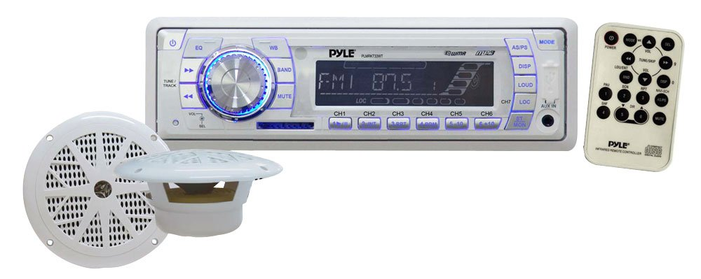 "Marine Receiver & Speaker Kit - In-Dash LCD Digital Display Stereo w/ Clock Function AM FM Tuning Radio 6.5"" Speaker System USB/SD/MMC Readers Panel Button & Remote Control - Pyle White PLMRKT33WT"