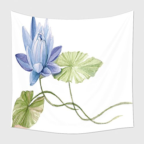 Home Decor Tapestry Wall Hanging Water Lily Or Lotus Flower On The Water Blue Hand Drawn Watercolor Botanical Illustration 401279209 for Bedroom Living Room Dorm