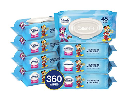 Feel Free Pack - Cottonelle Flushable Toddler Wipes for Kids, 8 Flip-Top Packs, 360 Fragrance-Free Wet Wipes in Disney Packaging, Mickey Mouse