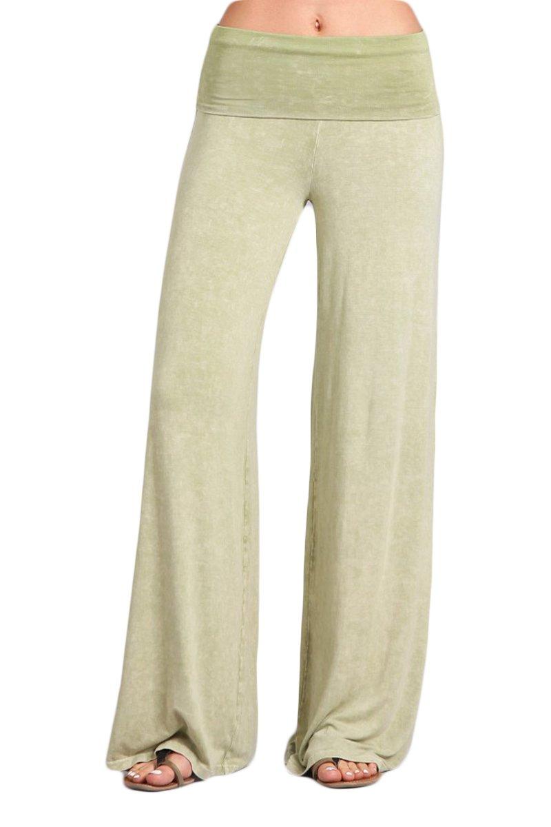 HEYHUN Womens Tie Dye Solid Wide Leg Bottom Boho Hippie Lounge Palazzo Pants - Lime - Large