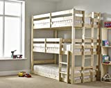 Three Sleeper Bunkbed - 3ft Single Triple Sleeper Bunk Bed - Very Strong BUNK - Contract Use - Heavy Duty use by Strictly Beds Pandora 3 Tier Bunkbed