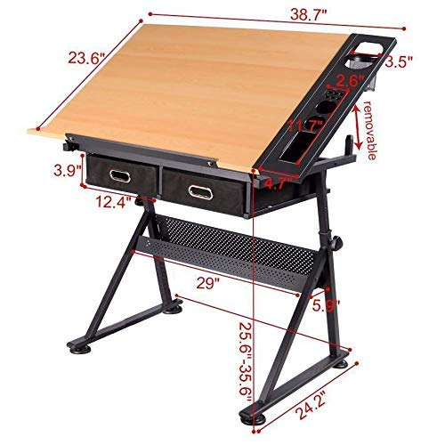 Dawoo 10# table with storage cabinet art /& craft table with adjustable height(Excluding stool)
