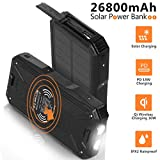 Solar Charger 26800mAh,Portable PD 18W Charger&10W Qi Wireless Charger Li-Polymer Battery Pack,4 Outputs,Super Bright Flashlight,IPX2 Rainproof