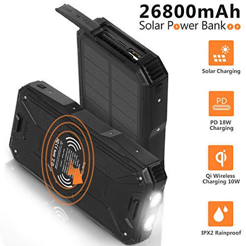 AMAES Solar Charger 26800mAh,Portable PD 18W Charger&10W Qi Wireless Charger Li-Polymer Battery Pack,4 Outputs,Super Bright Flashlight,IPX2 Rainproof