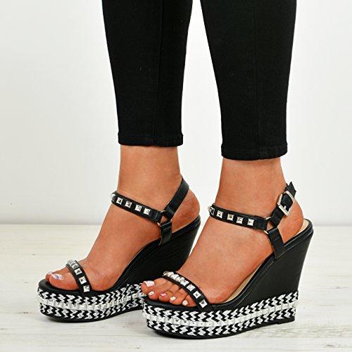 New Wedge Womens Platform UK Black Stud 3 Heels 8 Ladies Size Sandals Shoes Rock qx4rqw6
