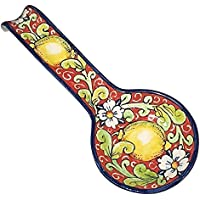 CERAMICHE D'ARTE PARRINI - Italian Ceramic Spoon Rest Holder Decorated Lemons Pottery Art Hand Painted Made in ITALY Tuscan