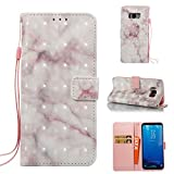 Cover Galaxy S8 Plus Marble Book Pink Beige, Misteem Colorful Fantasy Marble Pattern Soft Leather Credit Card Holder Wallet Shockproof Case Protective Shell for Samsung Galaxy S8 Plus
