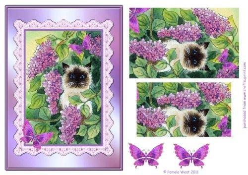Gatto e lillà passo por Decoupage por Pamela West Craftsuprint