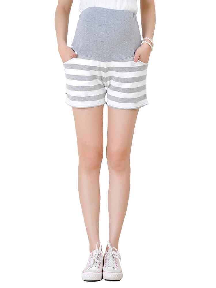 LIURUIJIA Women's Sports Shorts Gym Workout Care Maternity Shorts PantsYF008-gray-XL