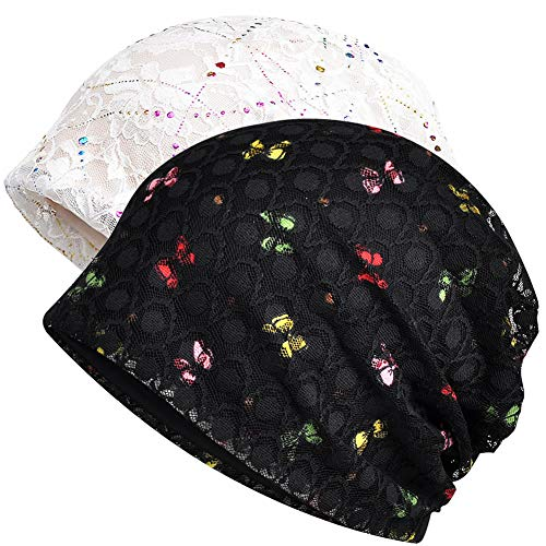 Womens Cotton Beanie Lace Turban Soft Sleep Cap Chemo Hats Fashion Slouchy Hat (White Black 2) -