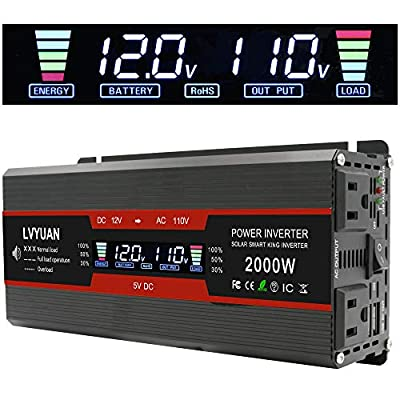 Cantonape 1000W/2000W(Peak) Car Power Inverter DC 12V to 110V AC Converter with LCD Display Dual AC Outlets and Dual USB Car Charger for Car Home Laptop Truck (Black): Automotive