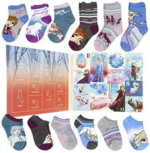 Disney Frozen II Girls 12 Days of Socks Holiday Advent Calendar