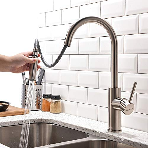Kitchen Faucet with Pull Down Sprayer, Kitchen Faucet Sink Faucet with Pull Out Sprayer, Single Hole and 3 Hole Deck Mount, Single Handle Copper Kitchen Faucets, Brushed Nickel, FORIOUS ()