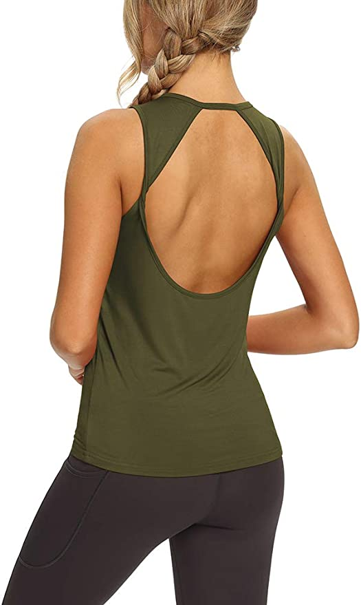 Details about  /Mippo Womens Open Back Long Sleeve Athletic Workout Shirt Self Knot Front Thumb