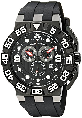 Swiss Legend Men's 10125-BB-01 Challenger Chronograph Black Dial Black Silicone Watch
