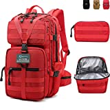 PRIMOCEAN Backpack 40L-50L, Tactical, Hiking, Lunch Box Traveling, 17-inch Laptop, Camping, 3 in 1 Detachable, Waterproof, USB Port, Molle, Fishing, Hunting, Meal Prep Insulated Cooler Bag (Red)