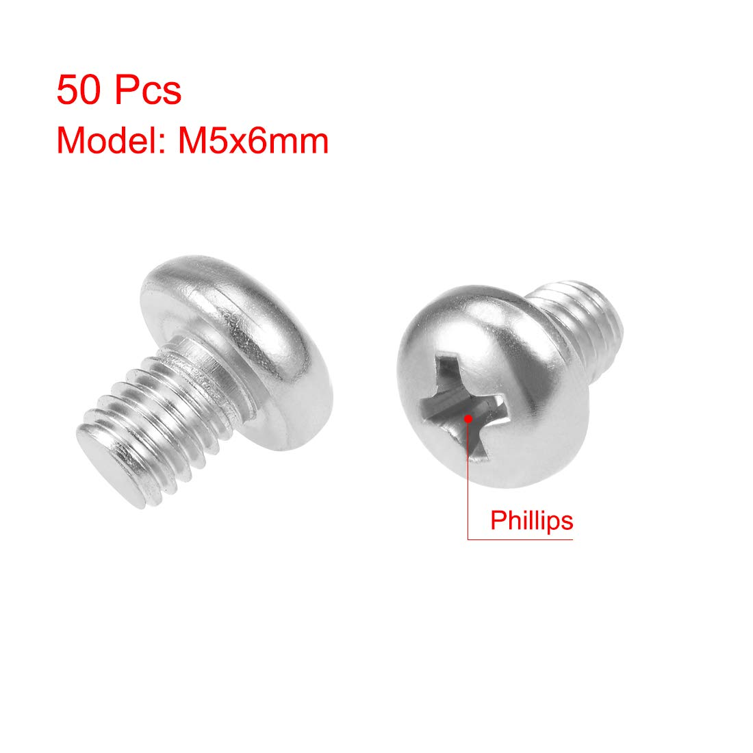 uxcell M5x12mm Machine Screws Pan Phillips Cross Head Screw 304 Stainless Steel Fasteners Bolts 50Pcs