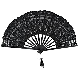 Agordo Handmade Cotton Lace Folding Hand Fan for Party Bridal Wedding Decoration (X5A9