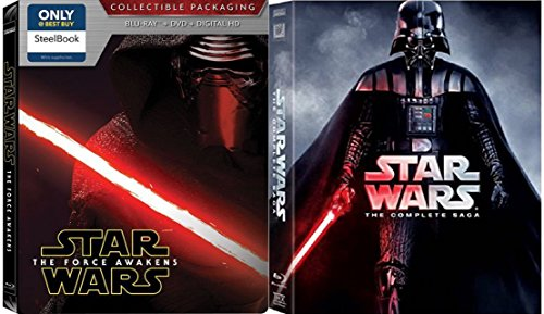 Star Wars: The Complete Saga (Episodes I-VII) 7 movie set - Star Wars Steelbook Blu Ray The Force Awakens Exclusive / Empire Strikes Back / Return of the Jedi movies 1-7 -