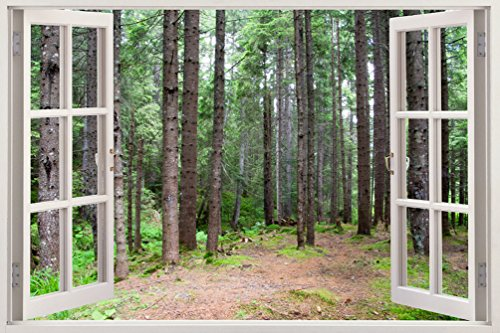 Bomba-Deal Realistic Window Wall Decal – Peel Stick Nautical Decor Living Room, Bedroom, Office, Playroom – Woods Wall Murals Removable Window Frame Style Forest Wall Art – Vinyl Poster Wall Stickers (And Murals Peel Stick)