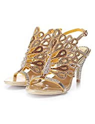 Wawoo Gorgeous Rhinestones Sandals Heels Women Hollow Design Open Toe Mid-heel Pumps Slingback Chunky Heels