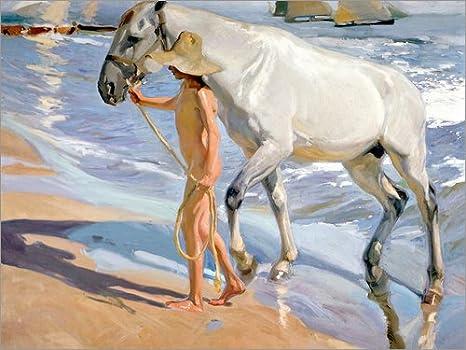 Posterlounge Lienzo 80 x 60 cm: Washing The Horse de Joaquín Sorolla y Bastida - Cuadro Terminado, Cuadro sobre Bastidor, lámina terminada sobre Lienzo auténtico, impresión en Lienzo
