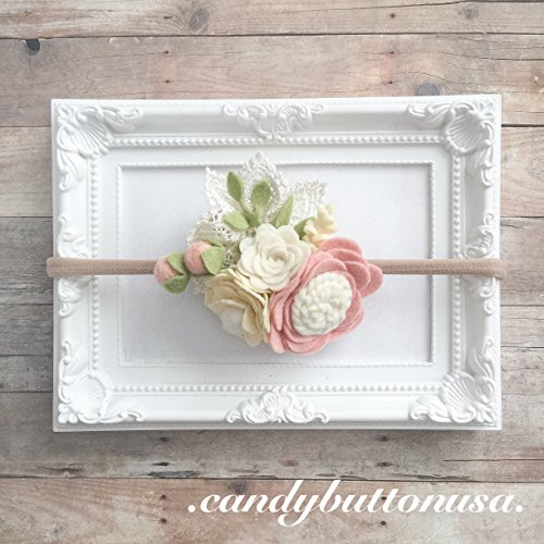Blush Felt Baby Headband | Floral Crown | Felt Headband | One Size Fits Most for $<!--$22.95-->