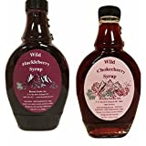 Montana Huckleberry Chokecherry Syrup Breakfast - Gift Set (2) 11 oz Real Fruit Grown & Hand Picked in The Wild from Bounty Foods for Cocktails - Toppings - Shaved Ice - Gluten Free (SY 2 Pk)