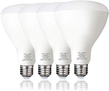 4-Pack Galygg BR30 Dimmable 10W 3000K (65 Watt Equivalent) LED Light Bulb