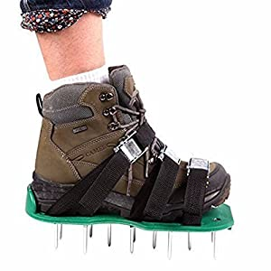 THEE Lawn Aerator Spike Shoes Aerating Lawn Soil Sandals 3 Adjustable Straps One Size