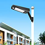 Solar Street Light Outdoor 48LEDs 900LM Waterproof IP65 4 Modes Emergency Light with PIR Motion Sensor, All-in-one Cordless Lamp, for Street Road Garden Yard Pathway (Daylight White, Black-1Pack)
