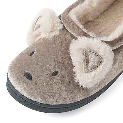 Plush Home Comfortable Anti Animal Shoes Slippers Brown Dailybella Women Indoor Slip House wqCSSO